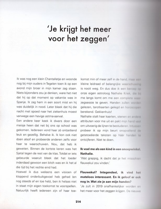 Chantal Janzen waarzeggen handlezen tarot